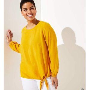 LOFT Embroidered Dot Striped Shirt - golden yellow